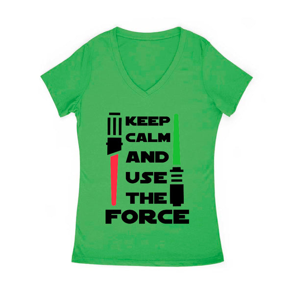 Keep Calm and Use the Force Women's v Neck