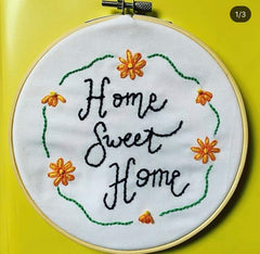 Home sweet hoop hand embroidery hoop kit needle and natter