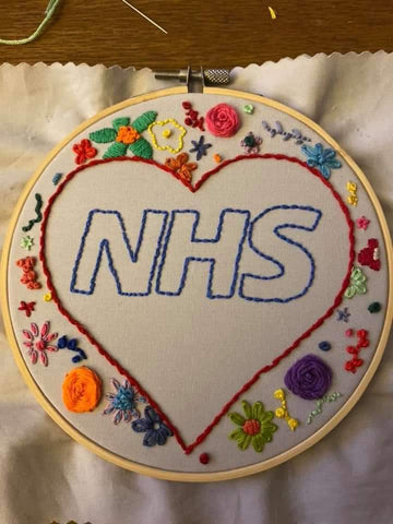 nhs thank you hand embroidery rainbow