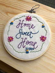 home sweet home  hand embroidery hoop kit needle and natter
