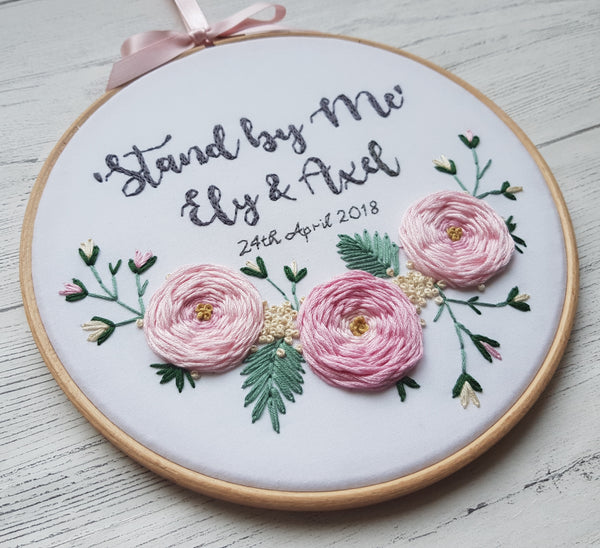 "8"" 'Large Roses and Quote' - Custom Wedding Hoop Art"