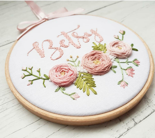 """ Floral Custom Name Hoop -Nursery Decor Children's Bedroom"