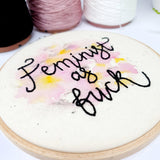 Mixed Media - FEMINIST A.F. - Inspirational Quote - Ready To Buy Hoop Art
