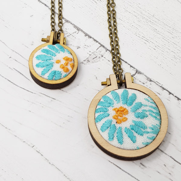'Vintage Blue' Necklace - Hand Embroidered Wearable