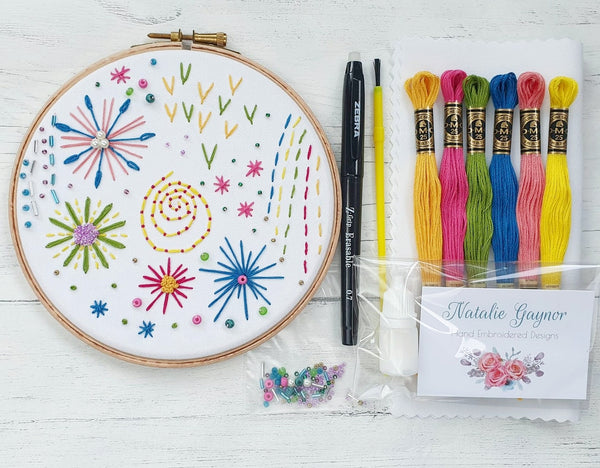 "Firework Inspired - 6"" Hand Embroidery Kit"