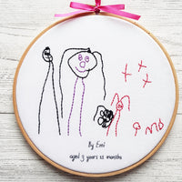 "8"" Child's art work stitched  keepsake - Children Drawing"