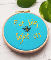 "4"" 'Put Big Light On' - Manchester Hoop Art - Hand Embroidered Hoop Art"