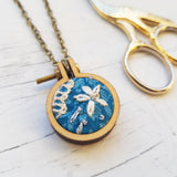'True Vintage Blue'' Necklace - Hand Embroidered Wearable