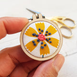 'Mustard Daisy' Badge - Hand Embroidered Wearable
