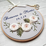 "8"" 'Large Roses' - Custom Wedding Hoop Art"