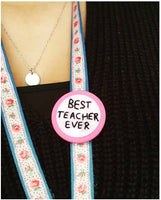 Personalised Teacher Gifts Badge/Lanyard clip- Hand Embroidered Wearable