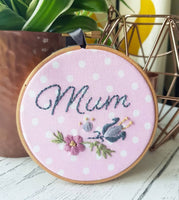 "4"" Mum, Scandi flowers - Custom Family Hoop Art"