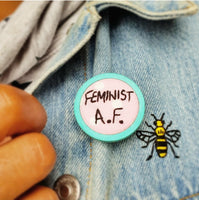 'Feminist A.F.' Badge - Hand Embroidered Wearable