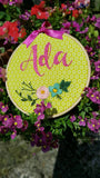 "6"" Daisy Custom Name Hoop -Nursery Decor Children's Bedroom"