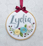 "6"" Floral Custom Name Hoop -Nursery Decor Children's Bedroom"