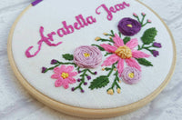 "6"" Floral Cluster Custom Name Hoop -Nursery Decor Children's Bedroom"