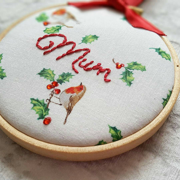 "4"" Robin Remembrance Festive Hoop Art"