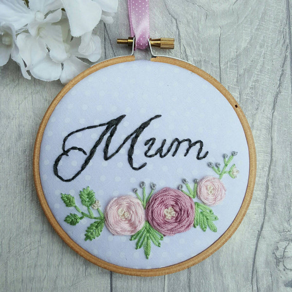 "4"" Mum - Custom Family Hoop Art"