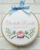 "6"" Single Rose Custom Name Hoop -Nursery Decor Children's Bedroom"