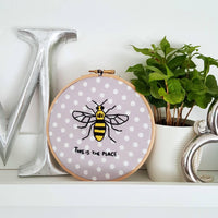 "6"" This is the Place, Manchester Bee Hoop Art"