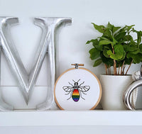 "4"" Manchester Bee Hoop Art - Grey Dot"