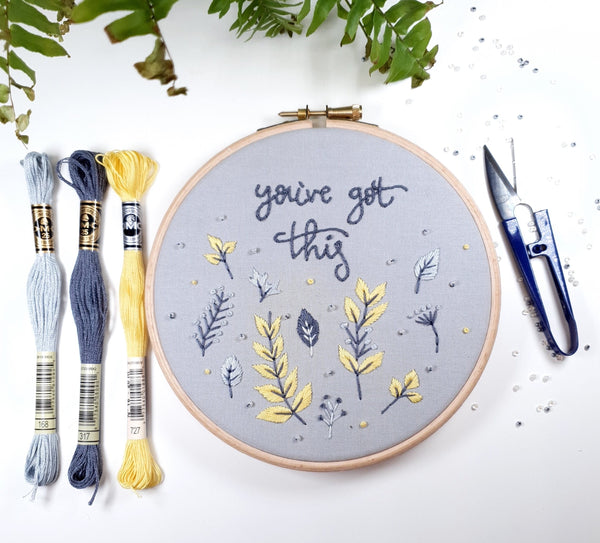 "You've Got This, Grey and Yellow - 6"" Hand Embroidery Kit"