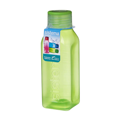 Sistema Square Bottle Small firkantet drikkedunk - 475ml - Grøn