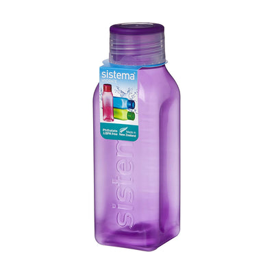 Sistema Square Bottle Small firkantet drikkedunk - 475ml - Lilla