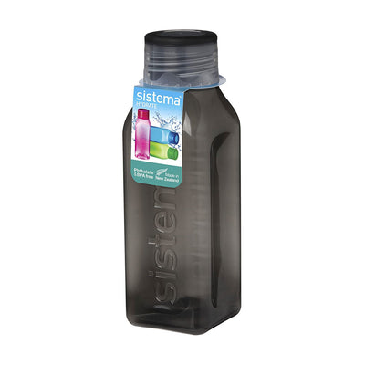 Sistema Square Bottle Small firkantet drikkedunk - 475ml - Sort