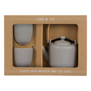 Grey Ceramic Tea Gift Set
