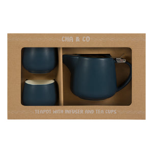 Navy Ceramic Tea Gift Set