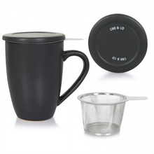 Load image into Gallery viewer, Black Ceramic Infuser Mug