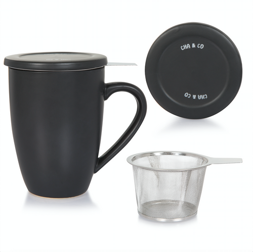 Black Ceramic Infuser Mug
