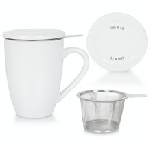 Load image into Gallery viewer, White Ceramic Infuser Mug