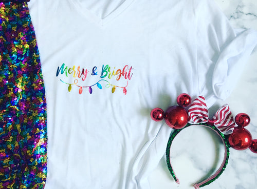 Rainbow 'Merry & Bright' Tee