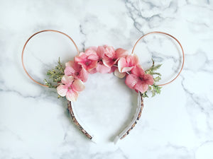 Rose Gold Flower Crown Ears