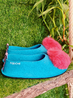 RED SEA POMPOM slippers