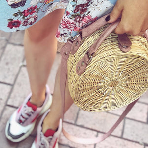 DUSTY PINK PEONY STRAW bag
