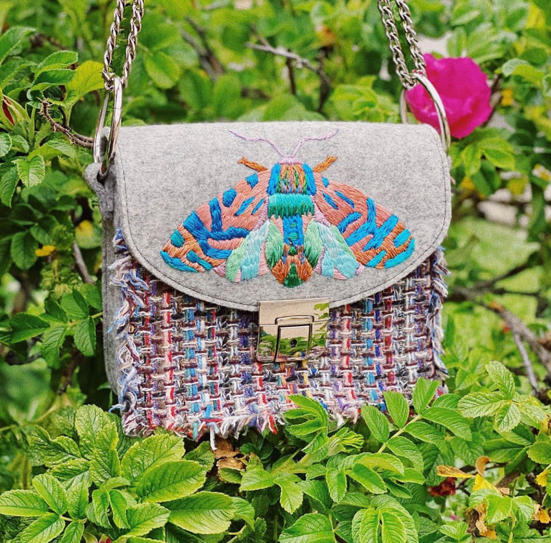 MOTH tweed bag with handmade embroidery