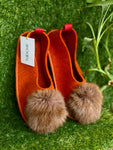 ORANGE POMPOM slippers