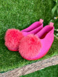 CORAL POMPOM slippers