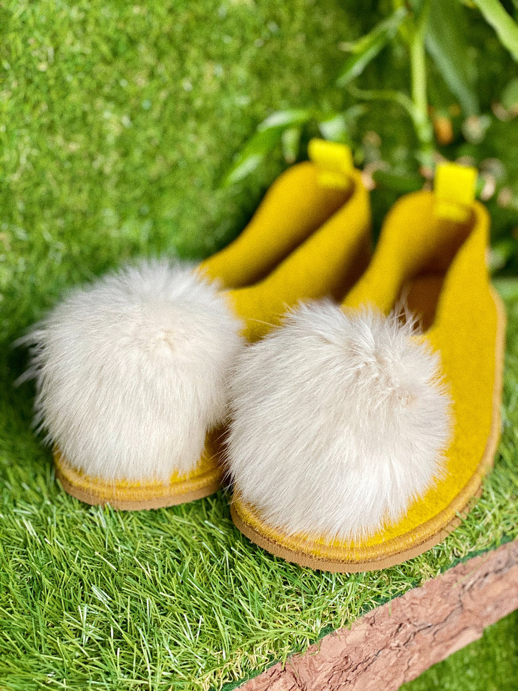 YELLOW VEGAN POMPOM slippers