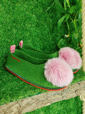 WATERMELON POMPOM slippers