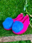 WILD FLOWER pom pom slippers