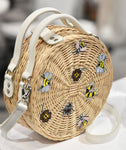 WHITE PEONY STRAW bag with bugs