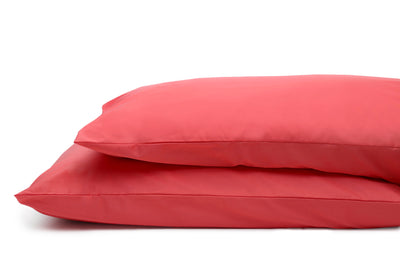 Good & Bed | Long Staple Egyptian Cotton Sateen Weave Pillowcase Set | Palm Beach Coral