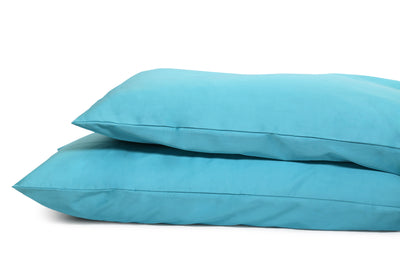 Good & Bed | Long Staple Egyptian Cotton Sateen Weave Pillowcase Set | Turquoise & Caicos