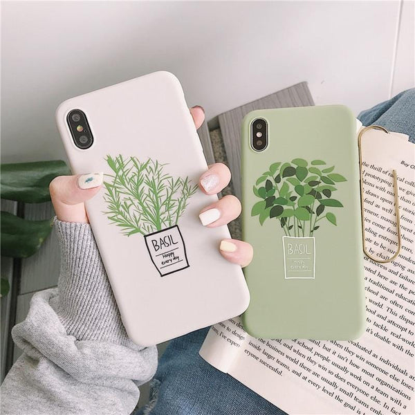 Cartoon Green Flowers iPhone Case