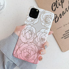 Gold Shiny Rose Flowers iPhone Case
