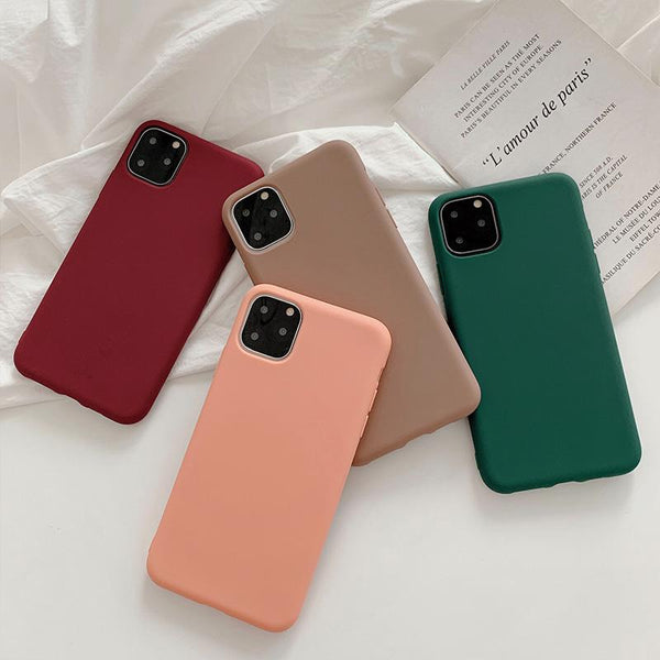 Solid Color Soft Silicone Case